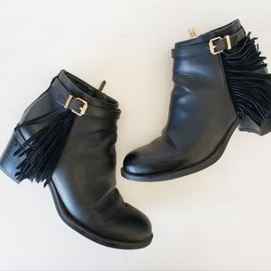 Black leather Sam Edelman booties with fringe